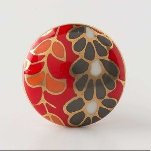 5 Anthropologie Knobs, Red with Flowers